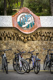 Wall of the parc Guell wiht bikes, Barcelona, Spain. Wall of the parc Guell wiht bikes, Barcelona royalty free stock photography
