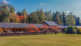 The wall and path surrounded Todai-ji in Nara Royalty Free Stock Photo