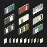 Wall patterns with doors and windows. In isometric view.Vector illustration of set with different wall covering Royalty Free Stock Photos