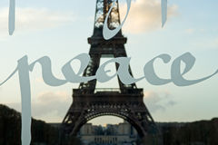 The Wall for Peace. The Eiffel tower shot through the Wall for Peace - Paris, France royalty free stock photos