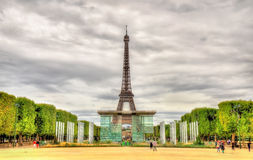 The wall of peace and the Eiffel Tower Royalty Free Stock Photo