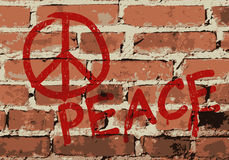 Wall with peace sign,  Royalty Free Stock Photography