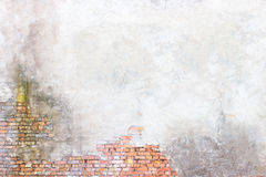 Wall with peeling plaster, grunge background for design Stock Photo