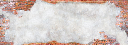 Wall with peeling plaster, grunge background for design Stock Photos