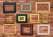 Wall and Picture Frames. Contemporary Picture frames on a brick wall Royalty Free Stock Photos