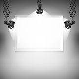 Wall with picture.  Vector illustration. spotlight, light, spot, frame, background, Stock Image