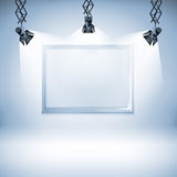 Wall with picture.  Vector illustration. spotlight, light, spot, frame, background, Stock Photos