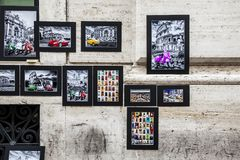 Wall with pictures and drawings os Rome stock photography