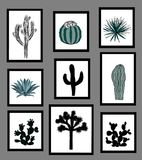 Wall pictures sat with black and white silhouettes of cactus, agave, and prickly pear. Vector illustration. Wall pictures sat with black and white silhouettes of Stock Image