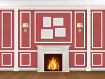 Wall with pilasters, fireplace, sconces. Classic interior wall with fireplace, sconces and pilasters. Vector realistic illustration Stock Images