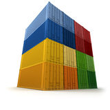 Wall of piled up cargo containers Royalty Free Stock Image