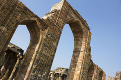 Wall and pillars in qutub minar Stock Photos