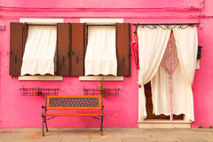 The wall of the pink. This is a pink wall in Burano of Venice Royalty Free Stock Images