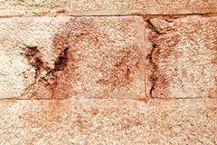 Wall from pink limestone Royalty Free Stock Image