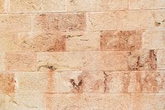 Wall from pink limestone Royalty Free Stock Photo