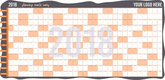 2018 Wall Planner │ Planning made easy. An easy way to organize your office work/ family activities and events. Recommended printing dimensions 914 mm x stock illustration