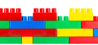 Wall from plastic building constructor Royalty Free Stock Photo