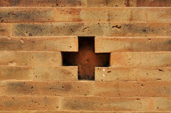 Wall plus [brick]. Background backstein block brick, brickwall brown building Stock Photography