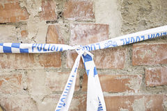 Wall police tape. Warning of danger, safety Royalty Free Stock Photos