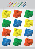 2014 wall post it calendar eps10. 2014 wall color post it calendar eps10 Stock Photo