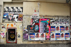 Wall posters at Auckland side street Royalty Free Stock Photography