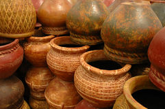 Wall of Pots. Stacks of pottery stock images
