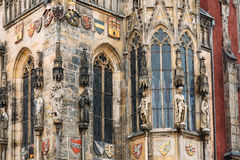 Wall of Prague town hall with astronomical clock Stock Photos