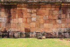 The Wall of Prasat Hin Phanom Rung castle Royalty Free Stock Photography