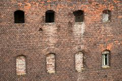 The wall of the prison building. SHLISSELBURG, SAINT PETERSBURG, RUSSIA - AUGUST 21, 2017: the Views of Wardens and prison housing 1911. of the Oreshek fortress stock photo
