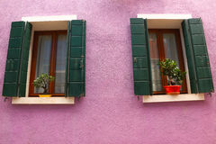 The wall of the purple. This is a purple wall in Burano of Venice Stock Photography
