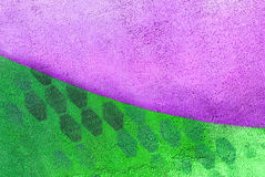 Wall with purple and green paint pattern paint Stock Photo