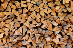 Wall of the put firewood. Dry chipped firewood is accurately put Royalty Free Stock Image