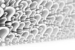 Wall of question marks on a white background with focus effect. 3d rendering Royalty Free Stock Photo