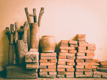 Wall of raw materials vintage background Royalty Free Stock Image