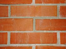 Wall of red brick with clay mortar  fragment of masonry wood-fired oven . Closeup of red brick wall with mortar. Close up photo of a red brick wall to use as a Stock Images