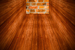 Wall of red brick at the end of a wooden tunnel. Collage. Toned Royalty Free Stock Image