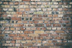 Wall of red brick with a layer of gray cement. Vintage toning Royalty Free Stock Photo