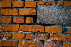Wall of red brick. Reconstruction of the old wall Royalty Free Stock Images