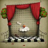 Wall with red curtains and small door royalty free illustration