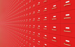 Wall of Red filing cabinets Stock Images