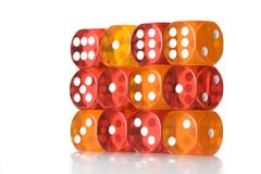 Wall of red and orange dice Royalty Free Stock Photography