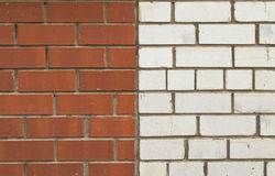 A wall of red and white brick Stock Images