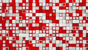 Wall of red and white 3D cubes abstract background. Wall of red and white cubes. Abstract background. 3D illustration Stock Image