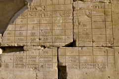 Wall relief of Ancient Egyptian calendar, Karnak,. Ruined wall relief of Ancient Egyptian calendar, Temple of Amun, Karnak, Egypt Stock Image