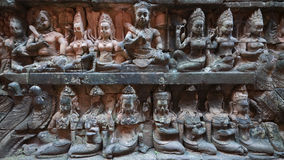 Wall relief at Angkor Thom, Cambodia Royalty Free Stock Photos