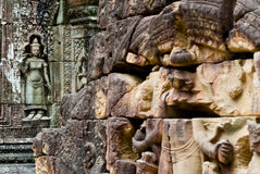 Wall relief within  Angkor Wat Complex Royalty Free Stock Photography