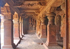 Wall relief at Badami Caves, India Royalty Free Stock Image