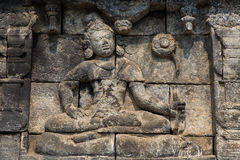 Wall relief closeup, Borobudur temple, Java, Indonesia Stock Images