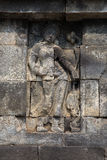 Wall relief closeup, Borobudur temple, Java, Indonesia Stock Photo