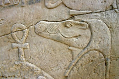 Wall of relief of the Crocodile God Sobek Royalty Free Stock Images